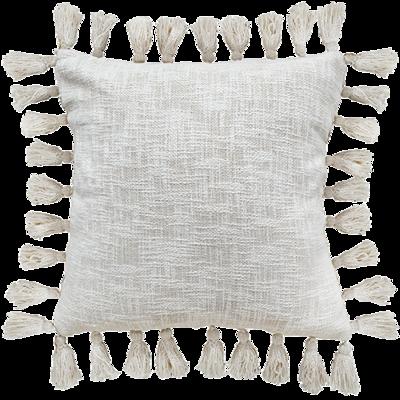 Cotton Slub Tassle Cushion with Insert