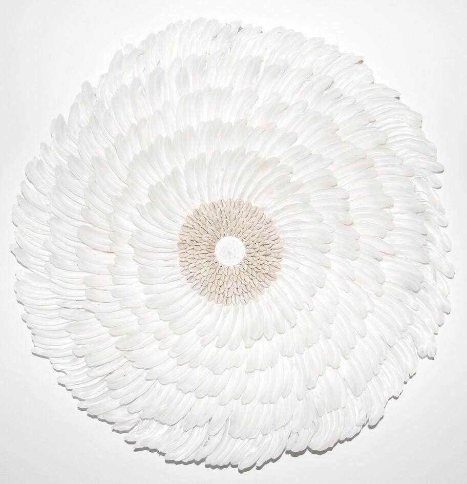 White hand made round feather Juju