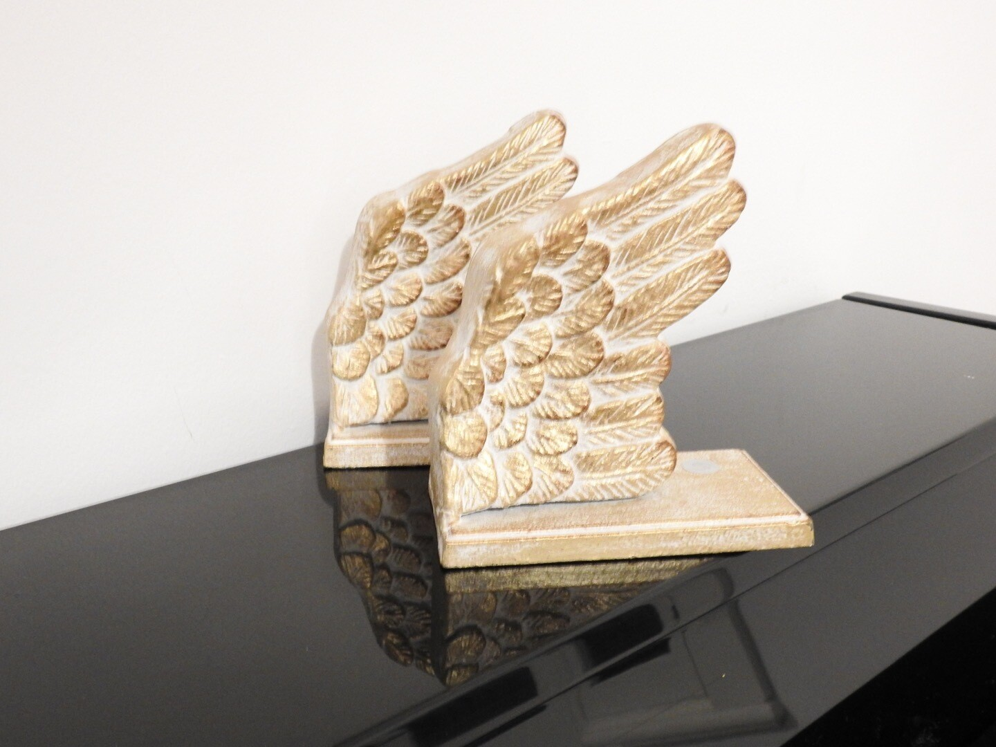 Cast Iron Bookend Set Angel Wings