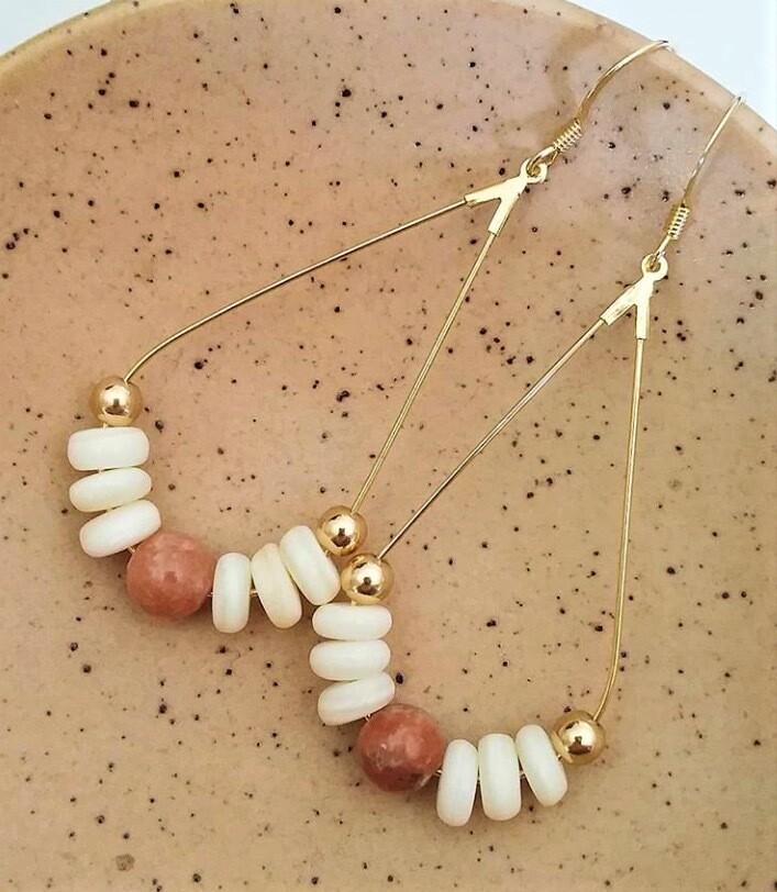 Lepidolite & Shell Teardrop Earrings