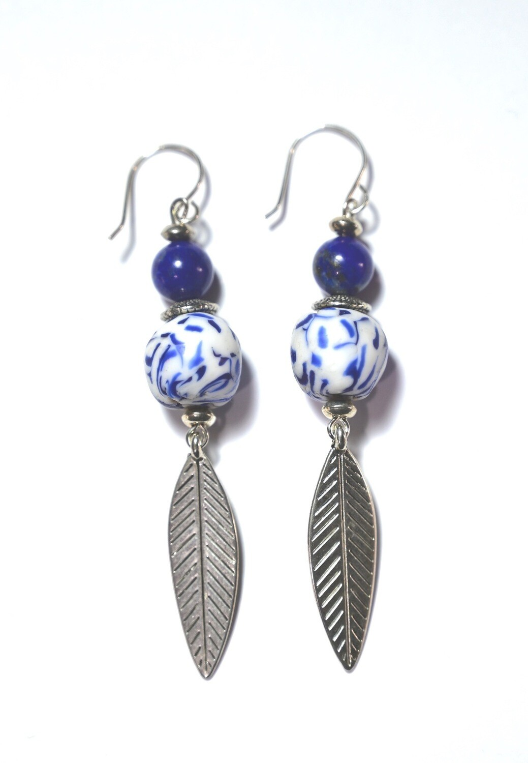 African Krobo Bead Feather Earrings