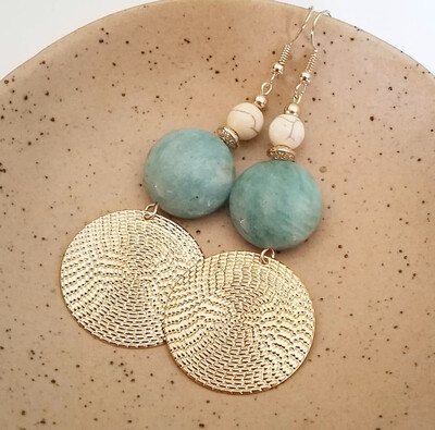 Amazonite Gold Disc Earrings