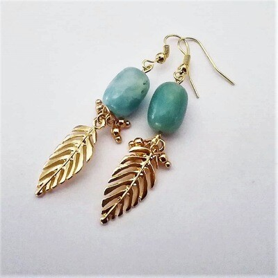 Amazonite And Gold Leaf Earrings