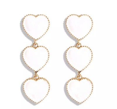 Cynthia Triple Heart Earrings