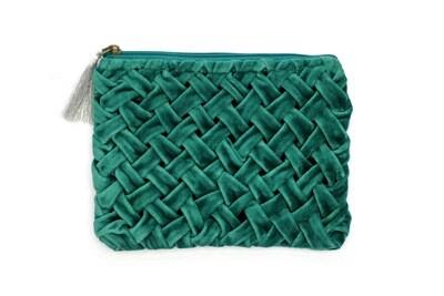 Emerald Velour Clutch Handbag