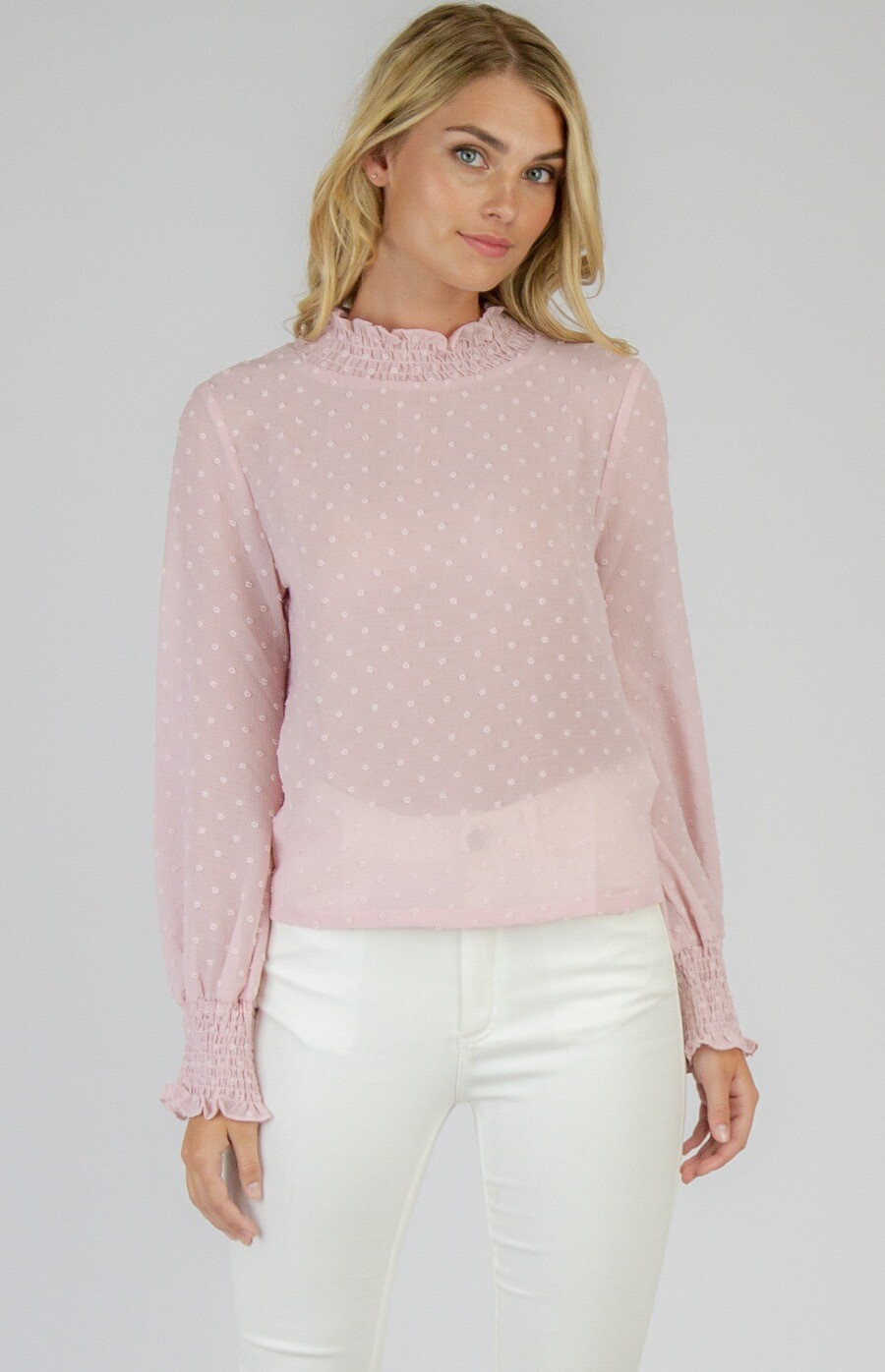 Sheer Textured 3D Top Blush