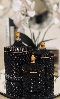 Black trio Glassware Candles