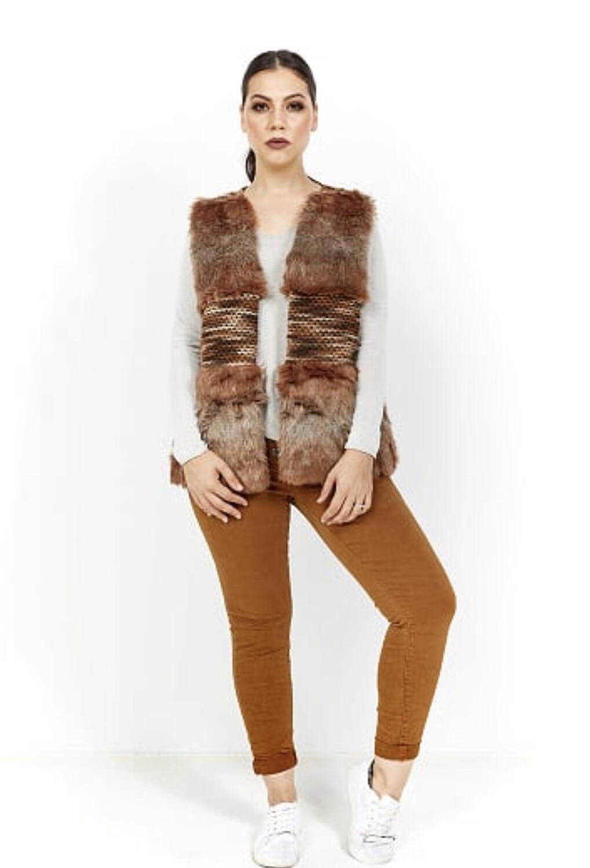 Amici Faux Fur Vest Caramel