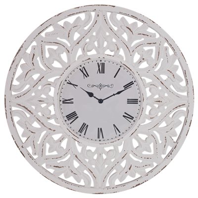 Carved Wood Round Wall Clock - 71cm
