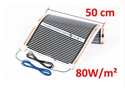 Отоплително фолио 80Вт/кв.м със свързани кабели, ширина 50см
