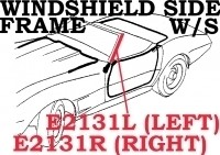 WEATHERSTRIP-WINDSHIELD SIDE FRAME-PILLAR POST-USA-LEFT-73-82 (#E2131L)  4A4