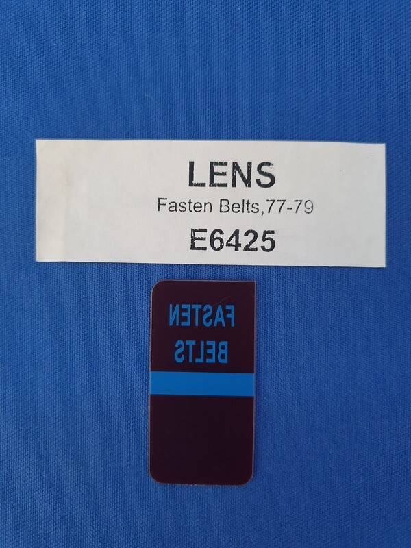 LENS-FASTEN SEAT BELTS-WARNING-77-79 (#E6425)