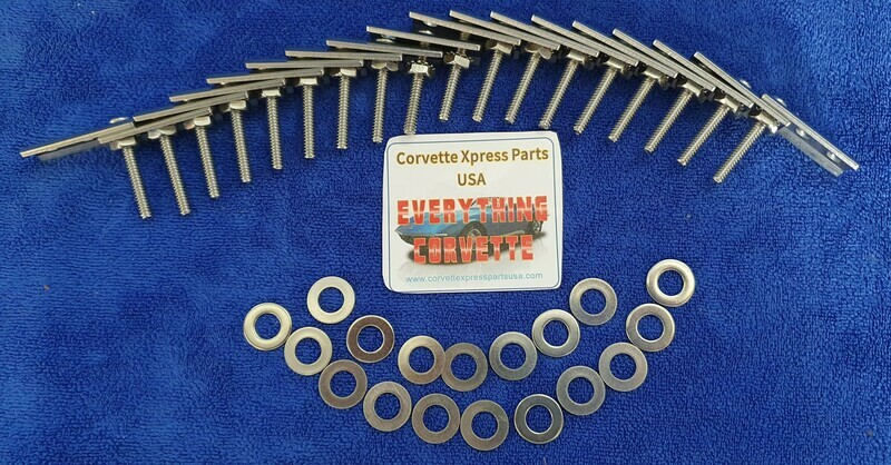 RETAINER SET-BUMPER-STAINLESS STEEL-18 PIECES-FRONT OR REAR-73-82 (#E7831)