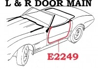 WEATHERSTRIP-DOOR MAIN-COUPE AND CONVERTIBLE-USA-PAIR-68 (#E2249)