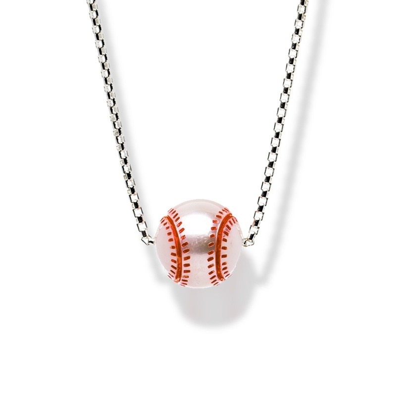 """Hand-Carved Pearl Trophy """"Baseball"""" Pendant"""