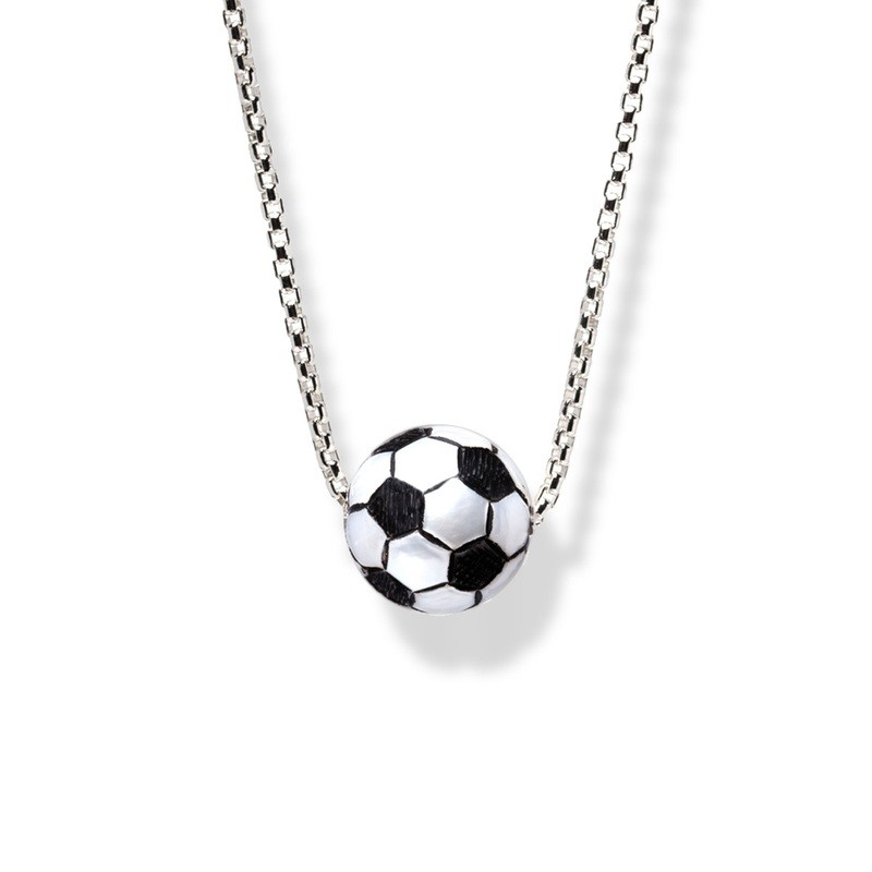 """Hand-Carved Pearl Trophy """"Soccer Ball"""" Pendant"""