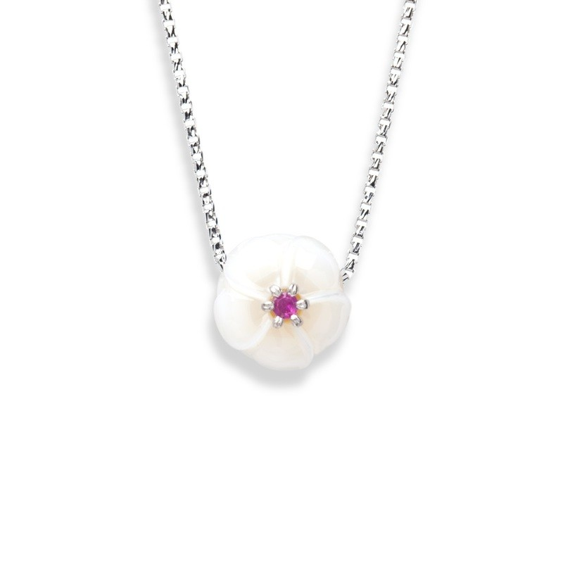 Plumeria Pendant With Ruby From The Galatea Hawaii Collection