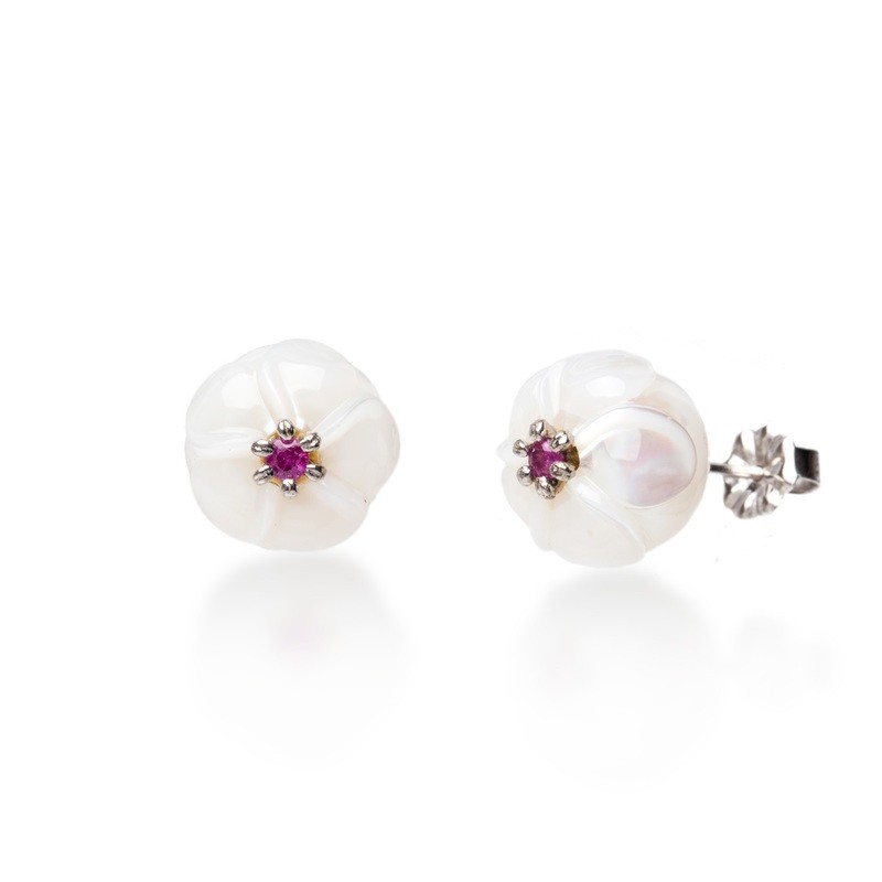 Plumeria Earrings With Rubies From The Galatea Hawaii Collection