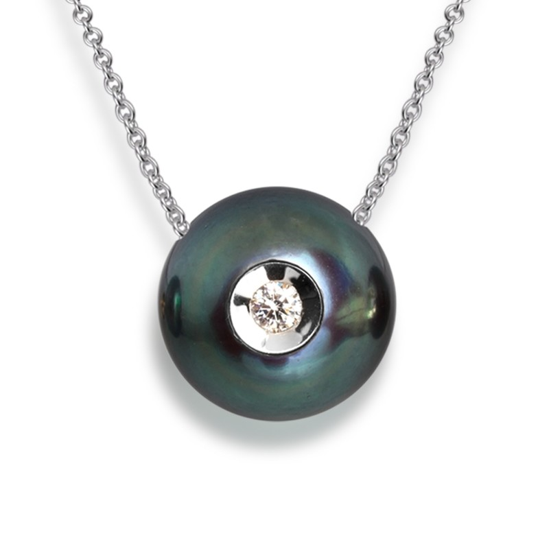 Diamond in a Pearl Pendant