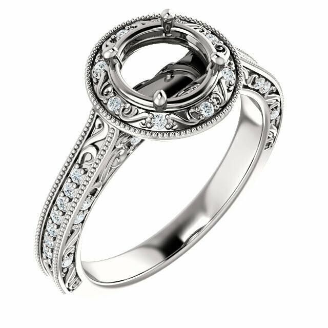 14K White 6.5 mm Round Engagement Ring Mounting