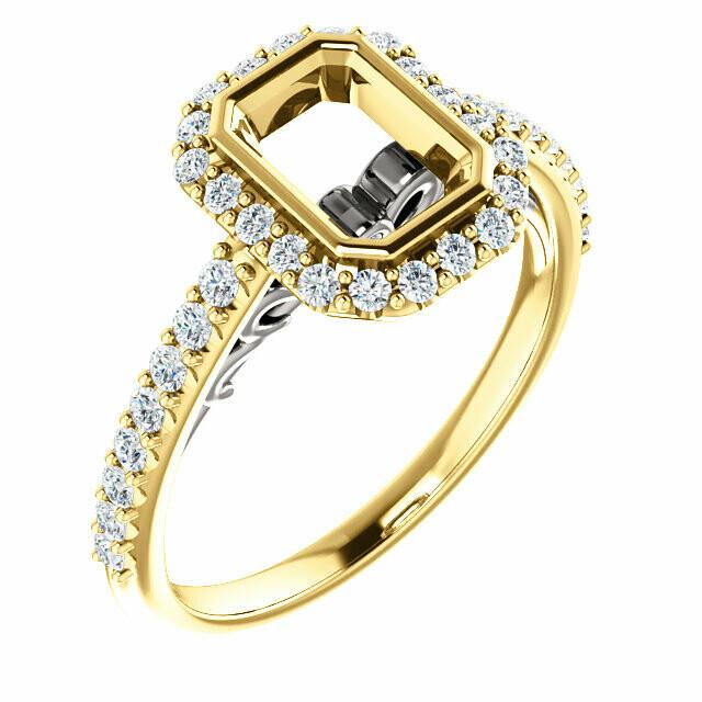 14K Yellow/White 7 x 5 mm Emerald Engagement Ring Mounting