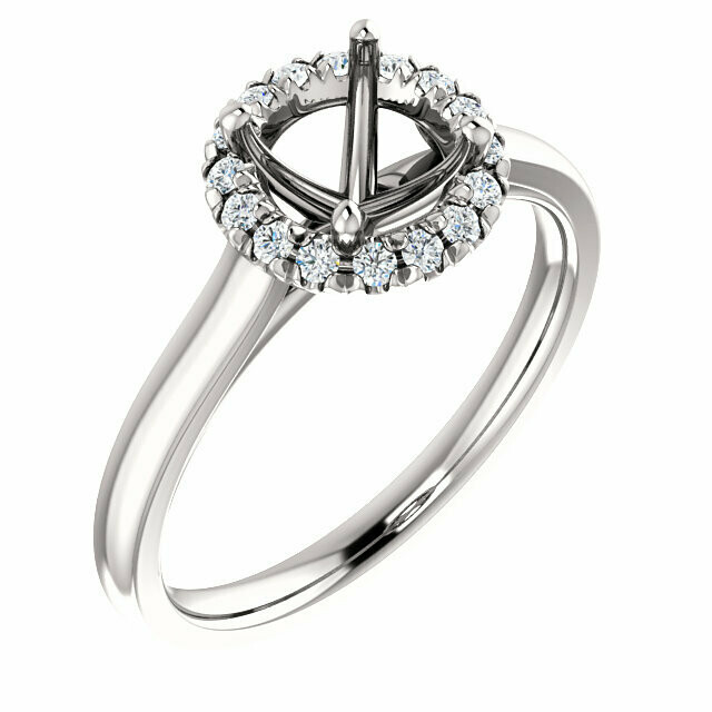 14K White 6.5 mm Round French-Set Engagement Ring Mounting