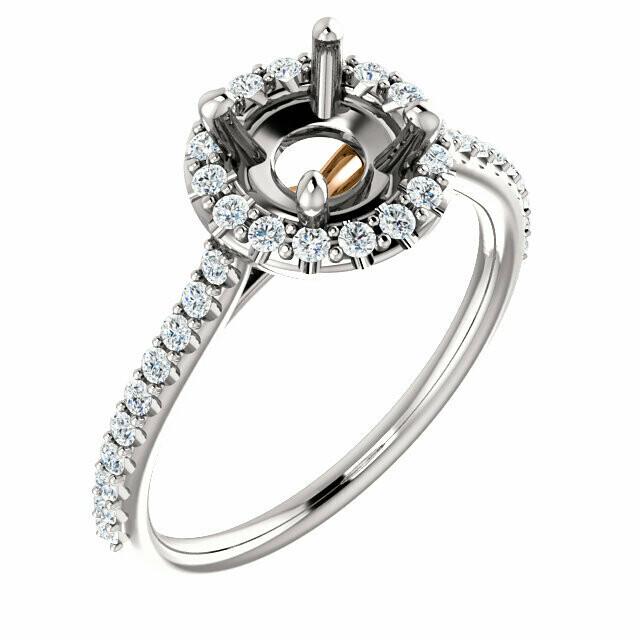14K White & Rose 6.5 mm Round Engagement Ring Mounting