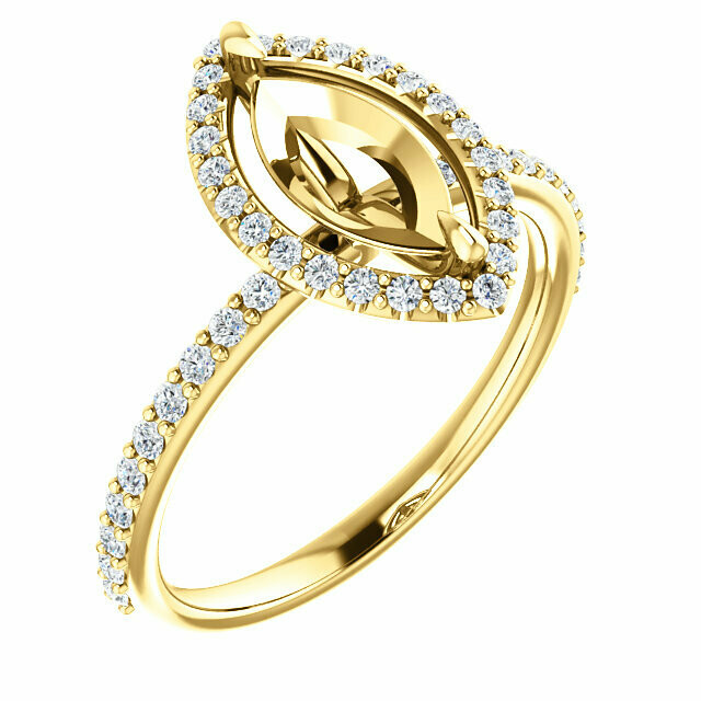 14K Yellow 10x5 mm Marquise Engagement Ring Mounting