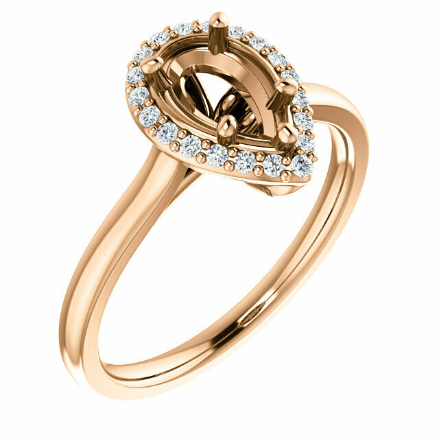 14K Rose 8x5 mm Pear Engagement Ring Mounting