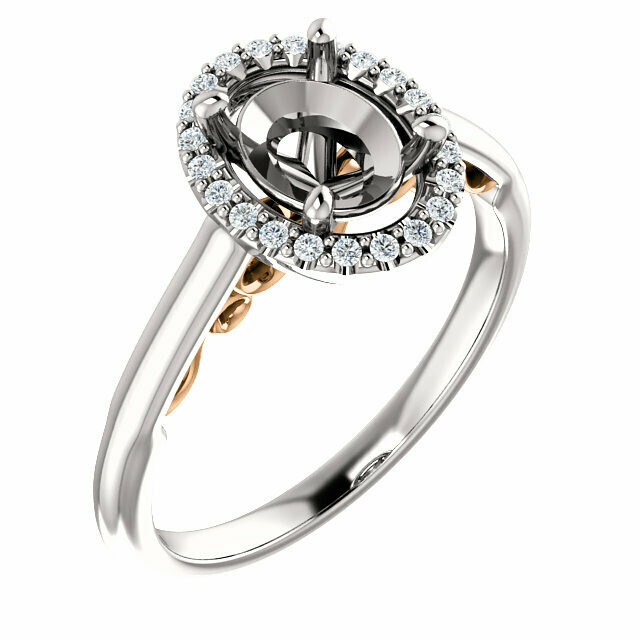 14K White & Rose 8x6 mm Oval Engagement Ring Mounting
