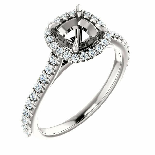 14K White 6 mm Cushion Engagement Ring Mounting