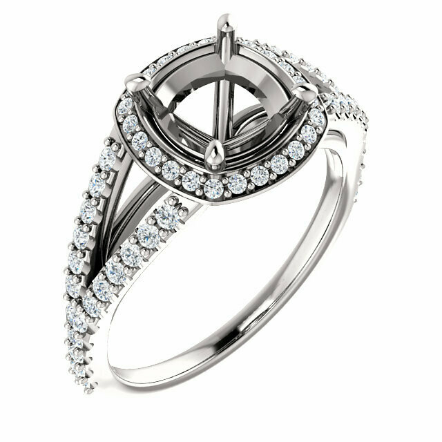 14K White 7 mm Cushion Engagement Ring Mounting