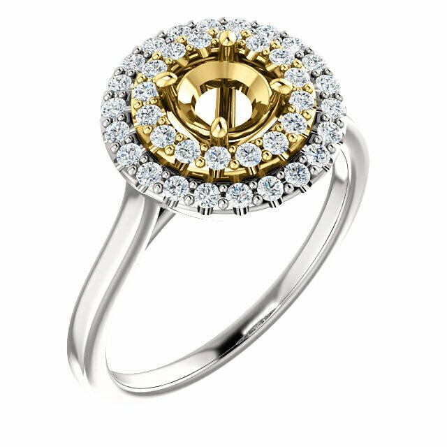 14K White & Yellow 5.2 mm Round Engagement Ring Mounting