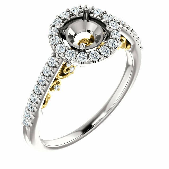 14K White & Yellow 5.8 mm Round Engagement Ring Mounting