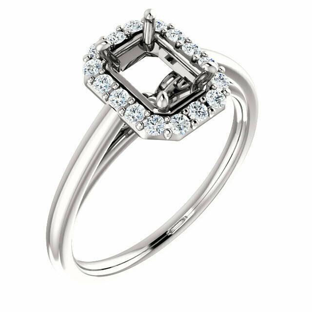 14K White 7 x 5 mm Emerald Halo-Style Engagement Ring Mounting
