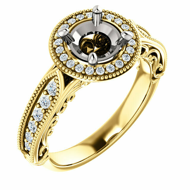 14K Yellow & White 6.5 mm Round Vintage-Inspired Halo-Style Engagement Ring Mounting
