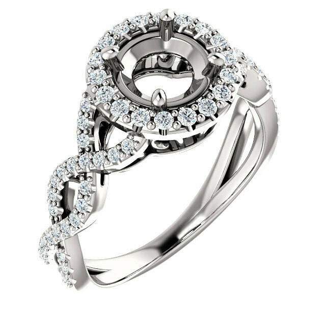 14K White 6.5 mm Round Infinity-Inspired Halo-Style Engagement Ring Mounting