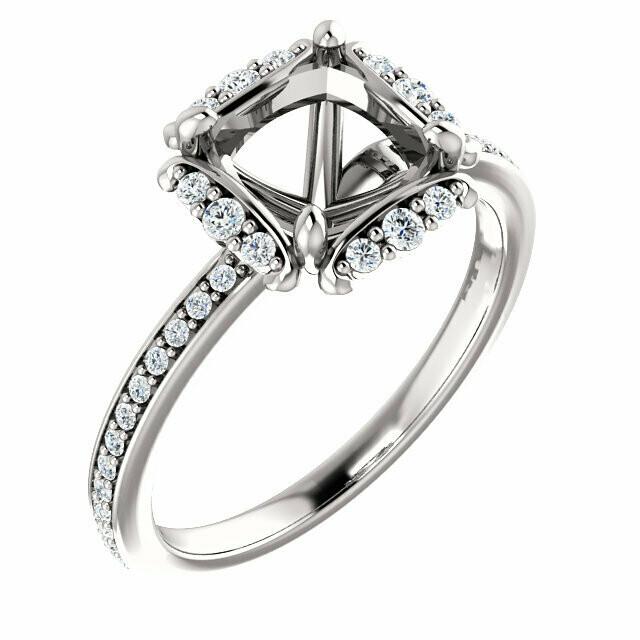 14K White 7x7 mm Cushion Halo-Style Engagement Ring Mounting