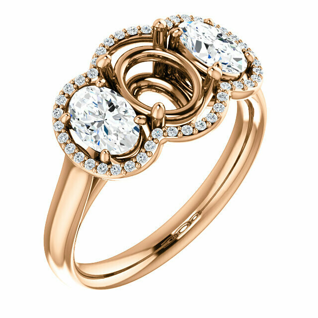 14K Rose 8x6 mm Oval Ring Mounting