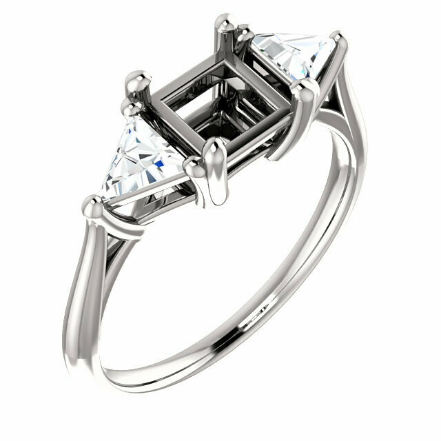 14K White 5.5 mm Square Engagement Ring Mounting