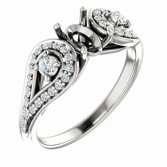 14K White 7x5 mm Oval Engagement Ring Mounting