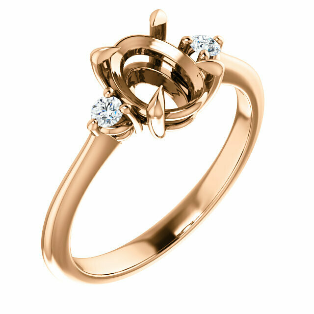 14K Rose 8x6 mm Oval Engagement Ring Mounting