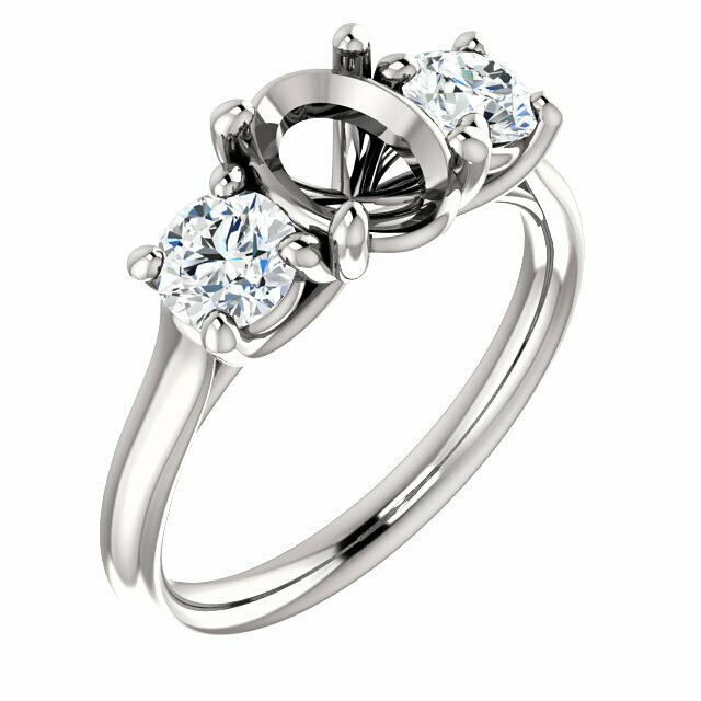 14K White 8x6 mm Oval Engagement Ring Mounting