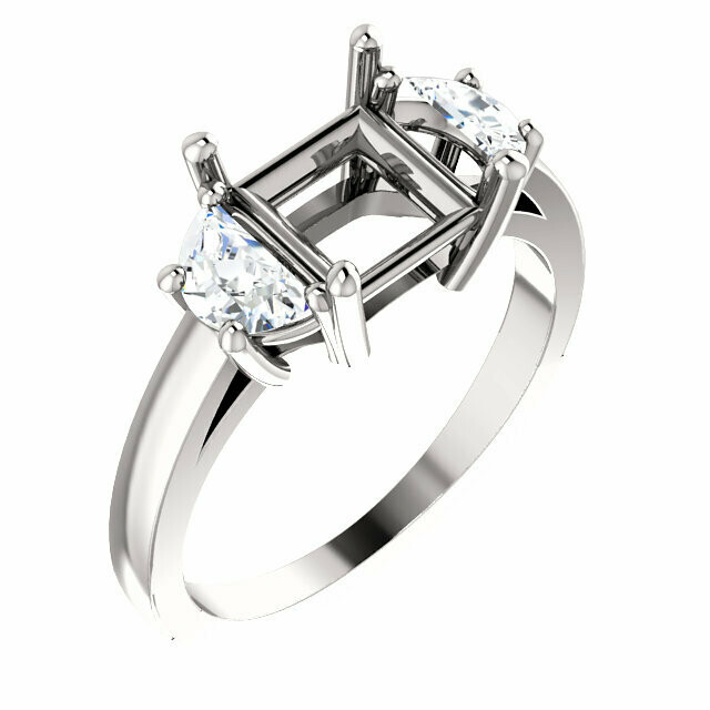 Platinum 6.5 mm Square Engagement Ring Mounting