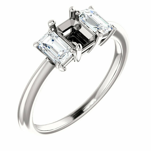 14K White 6x4 mm Emerald Engagement Ring Mounting