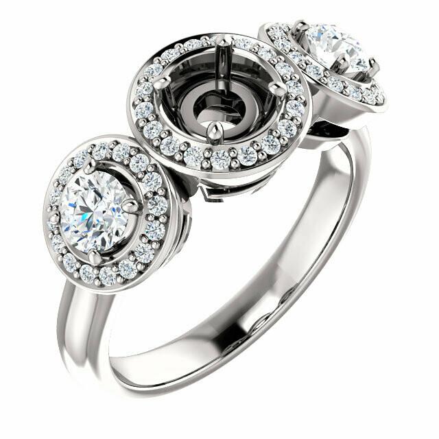 14K White 5.2 mm Round Three-Stone Halo-Style Engagement Ring Mounting