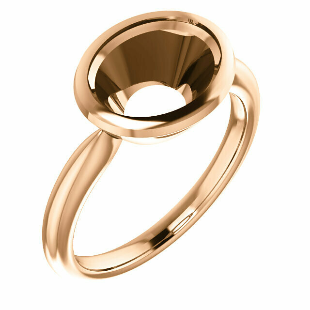 14K Rose 10x8 mm Oval Ring Mounting