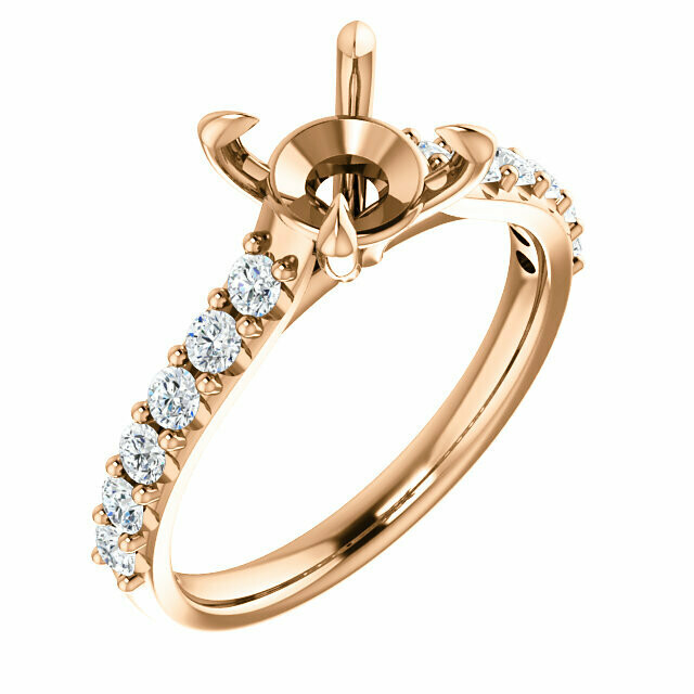 14K Rose 7.4 mm Round Engagement Ring Mounting