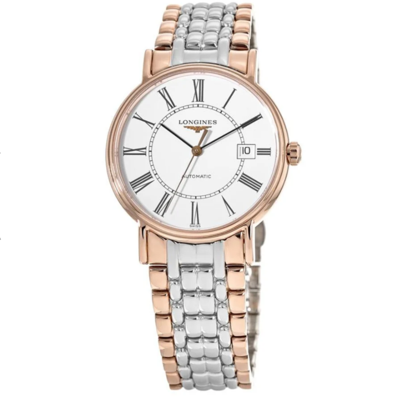 Presence White Dial Rose Gold and Stainless Steel Men's Watch