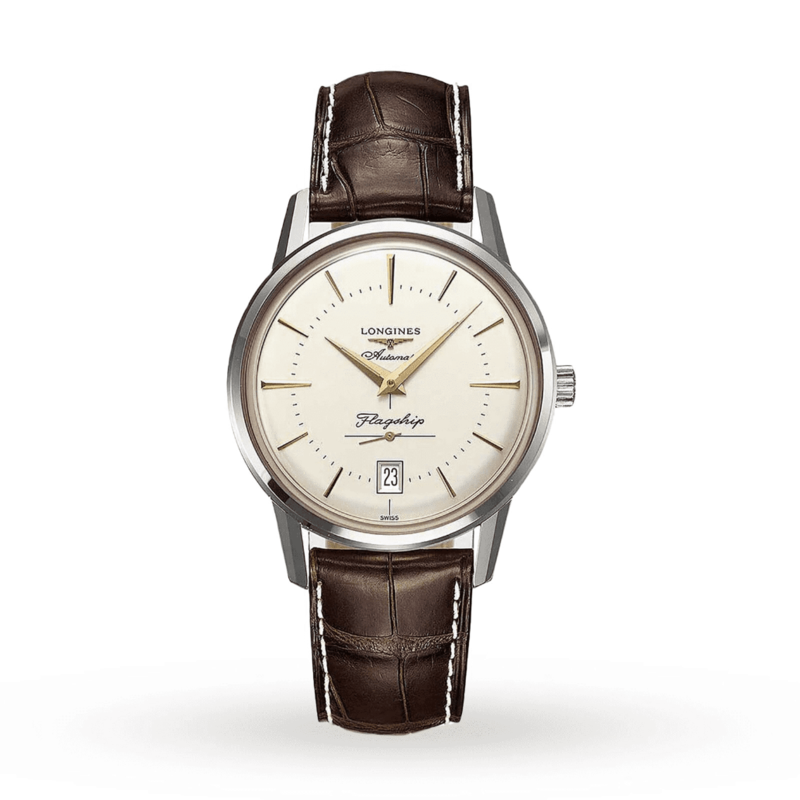 Heritage Flagship Automatic Silver Dial Brown Leather Men's Watch